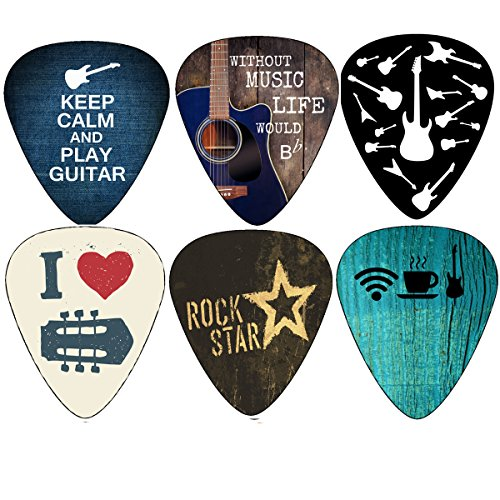 Amazon Lightning Deal 56% claimed: Cool Guitar Picks Guitar Accessories (12pc)- Assorted Light Medium Heavy Gauge - for Acoustic, Electric and Bass Guitars