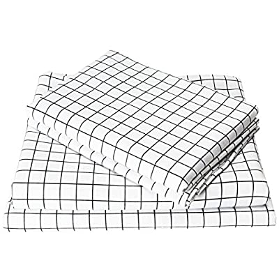 Exclusivo Mezcla 4-Piece Gingham Plaid Double Brushed 1800 Series Microfiber Bed Sheets Set (King, White)- Fitted Sheet+Flat Sheet+2 Pillowcases, Wrinkle, Fade & Stain Resistant and Hypoallergenic - King size bed sheet set includes 1 flat sheet measuring 108 by 102 inch, 1 fitted sheet measuring 78 by 80 inch and 2 pillow shams measuring 20 by 40 inch.Deep pocket fitted sheet with elastic all around ,fits up to 16 inch deep mattress. Made of material of 120 GSM (grams per square meter) which is much higher than most other bed sheet sets on the market, combined with double brushed process, our sheets are thicker, softer, more durable and breathable! It is machine washable and dryable for easy care. Material is specially processed to protect against any shrinkage after washing; fade, abrasion and stain resistant. - sheet-sets, bedroom-sheets-comforters, bedroom - 51S4DXEPMhL. SS400  -