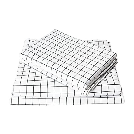 Exclusivo Mezcla 4-Piece Gingham Plaid Double Brushed 1800 Series Microfiber Bed Sheets Set (King, White)- Fitted Sheet+Flat Sheet+2 Pillowcases, Wrinkle, Fade & Stain Resistant and Hypoallergenic - King size bed sheet set includes 1 flat sheet measuring 108 by 102 inch, 1 fitted sheet measuring 78 by 80 inch and 2 pillow shams measuring 20 by 40 inch.Deep pocket fitted sheet with elastic all around ,fits up to 16 inch deep mattress. Made of material of 120 GSM (grams per square meter) which is much higher than most other bed sheet sets on the market, combined with double brushed process, our sheets are thicker, softer, more durable and breathable! It is machine washable and dryable for easy care. Material is specially processed to protect against any shrinkage after washing; fade, abrasion and stain resistant. - sheet-sets, bedroom-sheets-comforters, bedroom - 51S4DXEPMhL. SS570  -