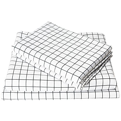 Exclusivo Mezcla 4-Piece Gingham Plaid Double Brushed 1800 Series Microfiber Bed Sheets Set (Full, White)- Fitted Sheet+Flat Sheet+2 Pillowcases, Wrinkle, Fade & Stain Resistant and Hypoallergenic from Exclusivo Mezcla