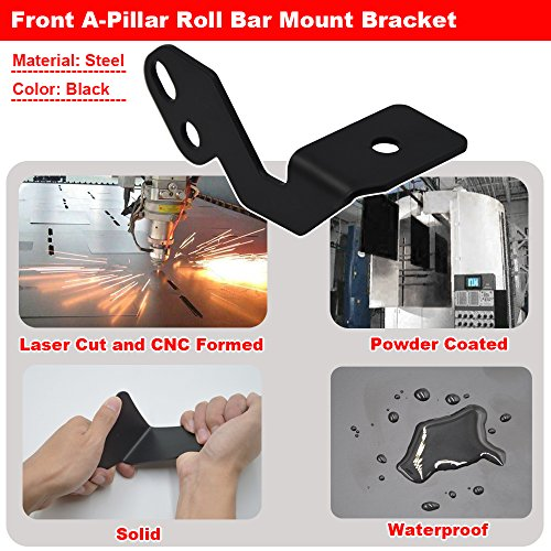 Front A-Pillar Roll Bar LED Work Light Cube Pod Mount Brackets For