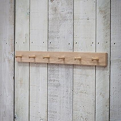 6 Wooden Peg Coat Hooks On Oak Rail