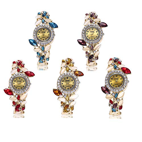 Weicam Women Luxury Watch Bracelet Diamond Flower Lady Retro Wholesale Wrist Watch 5 Pack