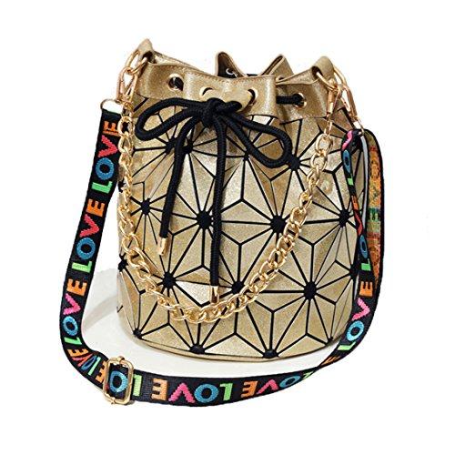 Women Geometric Luminous Shoulder Bag Bucket Handbag Lingge Flash Laser Leisure Bag Gold