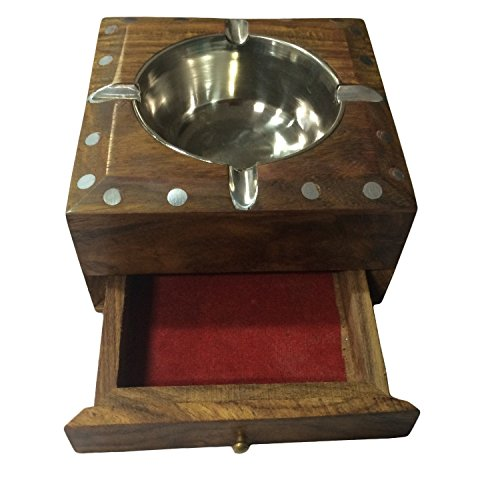 Indiacraftsoul Handmade Beautiful Designer Square Shaped Wooden Ashtray With Elephant Design Enlay & Drawer