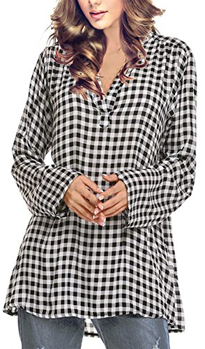 Multi Check Shirt - Oyamiki Women's Long Sleeve Flannel Plaid Tunic Buffalo Check Shirt Black White L