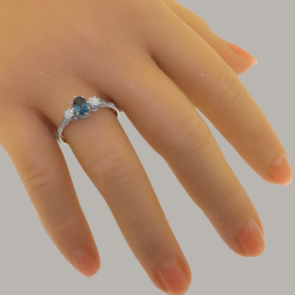 Sizes 4 to 12 Available Solid 925 Sterling Silver Natural London Blue Topaz /& Opal Womens Ring
