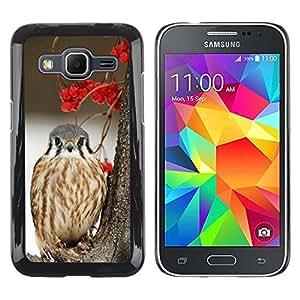 Be Good Phone Accessory // Dura Cáscara cubierta Protectora Caso Carcasa Funda de Protección para Samsung Galaxy Core Prime SM-G360 // winter berries snow bird hawk prey