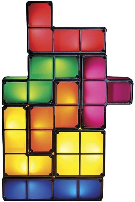 Lámpara Tetris Lámpara de mesa LED apilable luz de ambiente retro Lámpara Tetris luminaria bloques de construcción: Amazon.es: Hogar