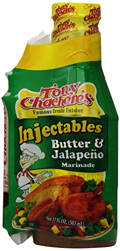 Tony Chachere Butter and Jalapeno  With Injector, 17-Ounce Bottles (Pack of 6)