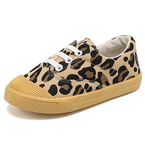 (Kids Canvas Sneaker Slip-on Baby Boys Girls Casual Fashion Shoes-Brown.leopard-27)