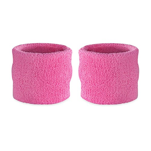 Suddora Kids Wrist Sweatband Also Available in Neon Colors - Athletic Cotton Terry Cloth Wristband for Sports (Pair) (Pink Solid Wristband)