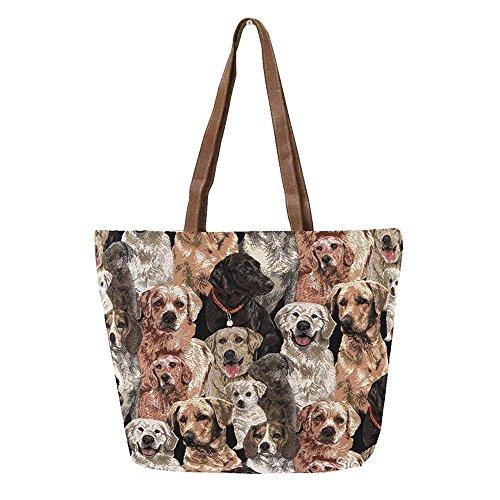 Labrador Dog Print - Signare Labrador Dog Print Women's Tapestry Shoulder Tote Handbag, Travel Handbags for Shopper, Daily Purse Tote Bag by (SHOU-LAB)