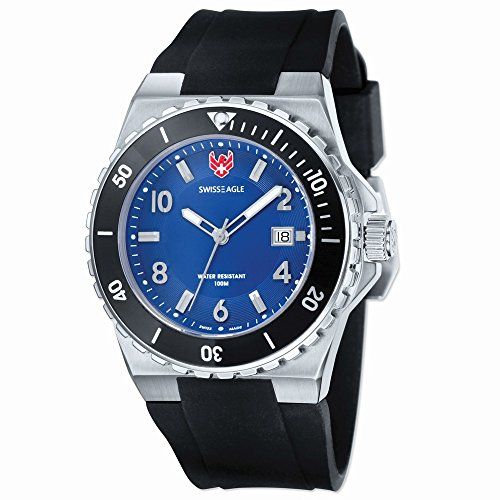 Mens Swiss Eagle Response Blue Dial Silicon Strap Watch