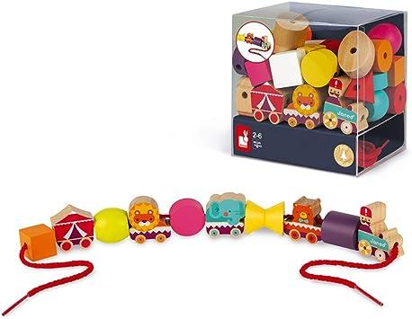 Janod - Caja de 11 Cuentas Para Enhebrar - Circo - Madera Maciza - Doble Cara - Desde 2 años - J05314: Amazon.es: Juguetes y juegos