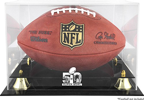 Sports Memorabilia Super Bowl 50 Golden Classic Football Logo Display Case - Football Logo Display Cases