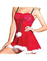 BOLUOYI Women Christmas Dress Pajamas Lingerie Sexy Sleeveless Underwear