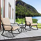 Outroad Outdoor Rocking Chairs Bistro Set atio Set Glass Top Table & Thick Cushions - 3-Piece Black Steel Furniture