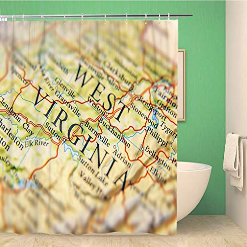 - Awowee Bathroom Shower Curtain Yellow America Geographic Map of West Virginia Close American Polyester Fabric 72x72 inches Waterproof Bath Curtain Set with Hooks