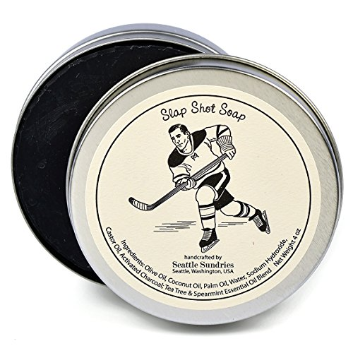 (Slap Shot Soap-100% Natural & Hand Made. Scented with Essential Oils. Convenient Travel Gift Tin. Great For Hockey Skating Fans.)
