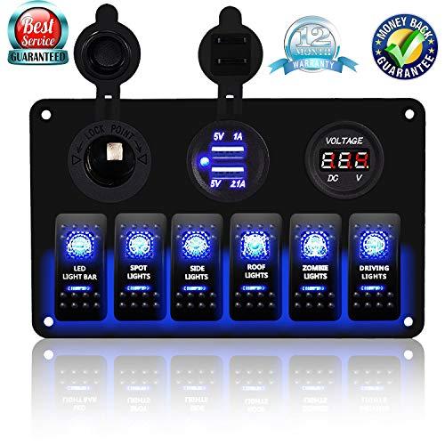 (DCFlat 5 Pin 4 Gang/6 Gang Car Marine Boat Circuit RV LED Rocker Switch Panel Breaker Voltmeter USB for RV Car Boat Blue/Red/Green Light (6 Gang Aluminum)