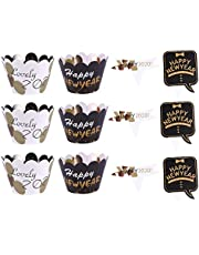 STOBOK 48pcs 2020 Happy New Year Cupcake Wrappers Cake Cupcake Toppers New Year Eve Party Decorations Supplies (24pcs Toppers + 24pcs Wrappers)