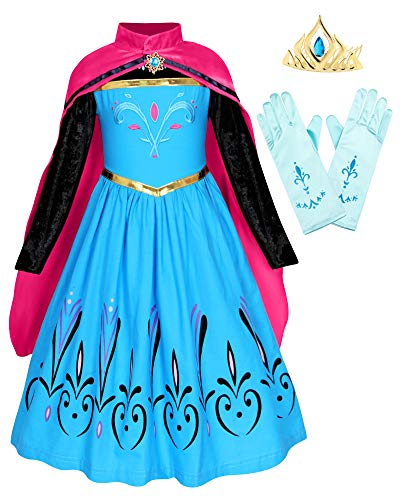 Cotrio Elsa Coronation Dress with Cape Tiara Gloves Girls Birthday Party Princess Dresses Toddler Kids Halloween Costumes Accessories Outfits Size 6 (5-6 Years, Blue, 120)