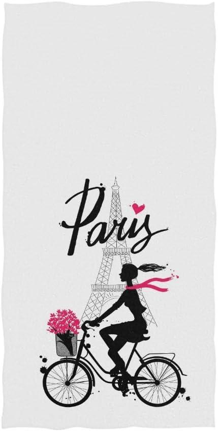 MYGZ-GW Torre Eiffel de París Chica de Moda en Bicicleta Silueta ...