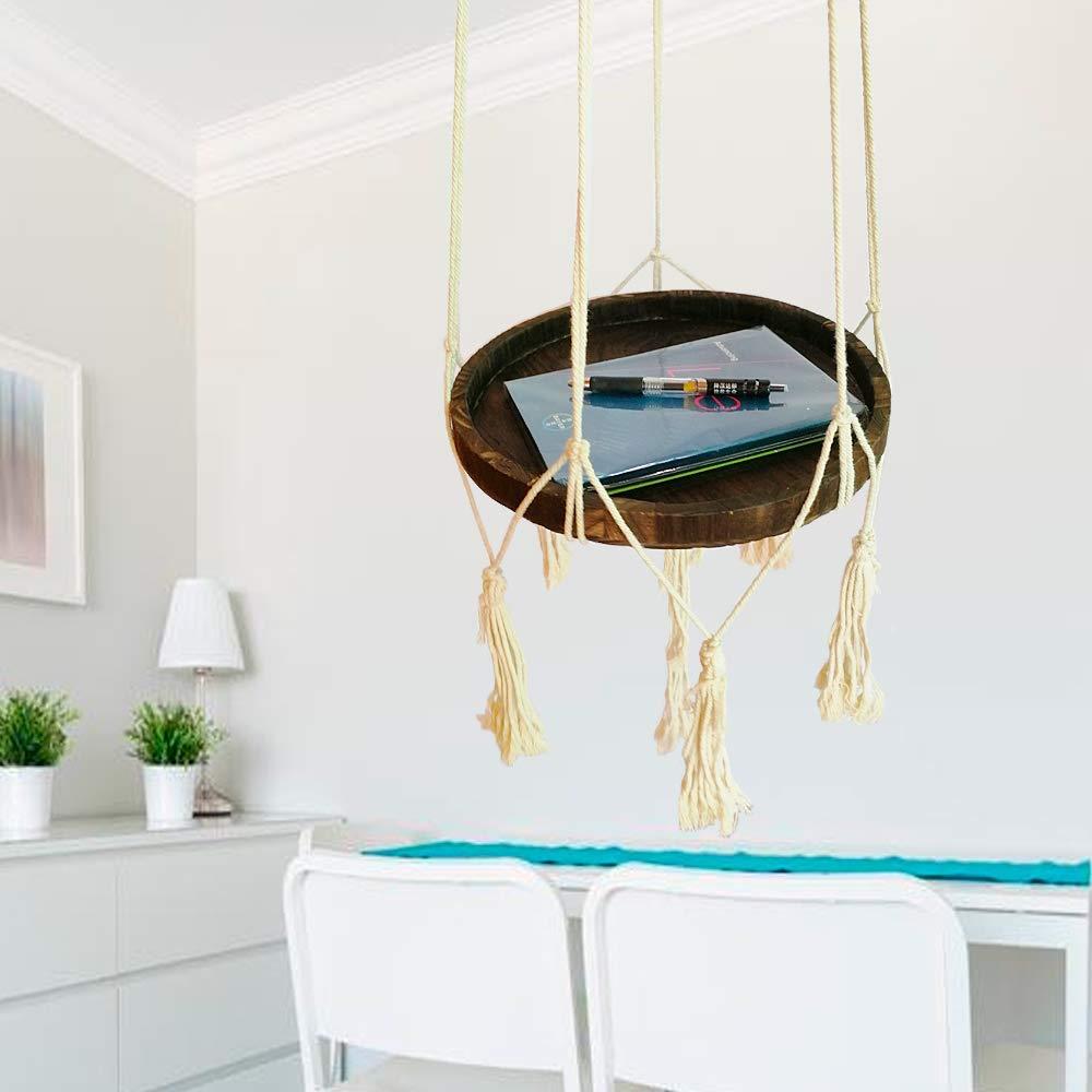 Okasi Shelf Hanging Planter with Decorative Beads,Indoor Plant Hanger Handmande Macrame Rack Flower Pot Holder Boho Home Decor Cotton Rope and Wood Round