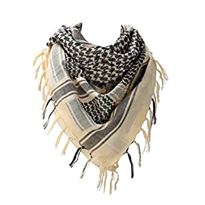 100 percent Cotton Military Shemagh Arab Tactical Desert Keffiyeh Thickened Scarf Wrap for Women and Men, Beige, One Size