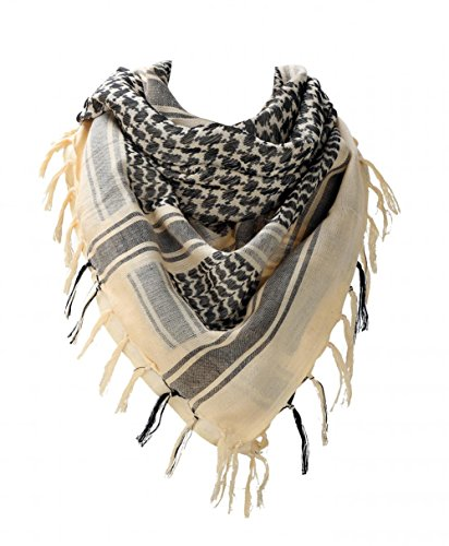 100 percent Cotton Military Shemagh Arab Tactical Desert Keffiyeh Thickened Scarf Wrap for Women and Men, Beige, One Size (Wear Desert Shemagh)