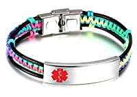 JF.JEWELRY Medical Alert ID Bracelets for Kids with Nylon Rope & Leather Braid Wrap Link,5.5 - 7.5 inch