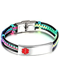Medical Alert ID Bracelets for Kids with Nylon Rope & Leather Braid Wrap Link,5.5 - 7.5 inch