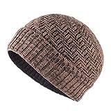 EBRICKON Knitted Wool Skullies Men's Beanies Thicker Velvet Bone Keep Warm Hip Hop Cap Boys Winter Hats for Men Balaclava Gorros