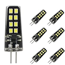 Dayker G4 LED Light Bulb 3W Jc Type Bi-pin Base 25W Halogen Replacement Daylight for Accent Lights, Marine Boat, Under Cabinet, Closet Lighting(6 Pack)