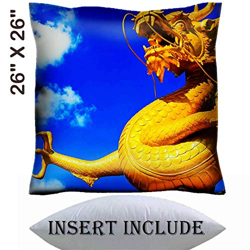 MSD 26x26 Throw Pillow Cover with Insert - Satin Polyester Pillow Case Decorative Euro Sham Cushion for Couch Bedroom Handmade Image ID: 8152243 Dragon China ()