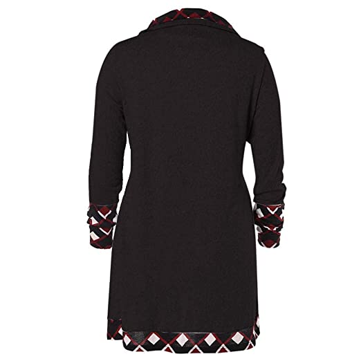 ffdc47e979d 2018🎅 Christmas Women Long Sleeve Red Plaid Turtleneck Casual Black  Button Funnel Neck