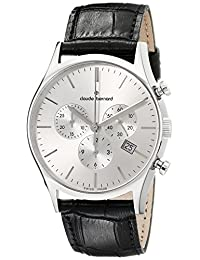 Claude Bernard Men's 10218 3 AIN Classic Dress Chronograph Analog Display Swiss Quartz Black Watch