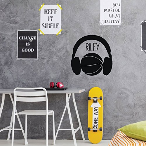- Personalized Basketball Player Vinyl Wall Decal - Ball Silhouetted With Headphones - Home Decor Sticker for Boy's or Girl's Bedroom, Locker Room, Playroom, Team Gym, or Game Room