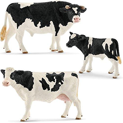 Holstein Bull - Schleich German Black Pied Cattle (Holstein) Family - 13796 13797 13798 by Schleich