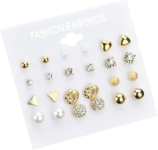 9 Pair Gold Silver Crystal Stud Earrings Set Round Geometric Piercing Earrings
