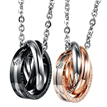 UM Jewelry Womens Mens Crystal Three Rings 2-Tone Pendant Stainless Steel Engraved Necklace 19.68""