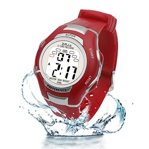 Digital Watches for Kids, 7 Colors LED Light Boys Girls Watch Waterproof Sports Watches Digital Watch with Alarm/Stopwatch, Date & Week and Calendar for Outdoor Sports Watches (Red)