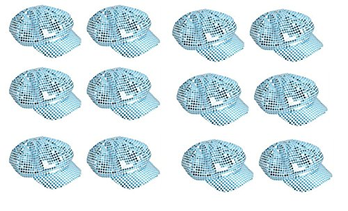 12 Pack - Lt. Blue Sparkly Sequin Newsboy Cap Diva Hat Disco Rave (Cheap Disco Diva Costume)