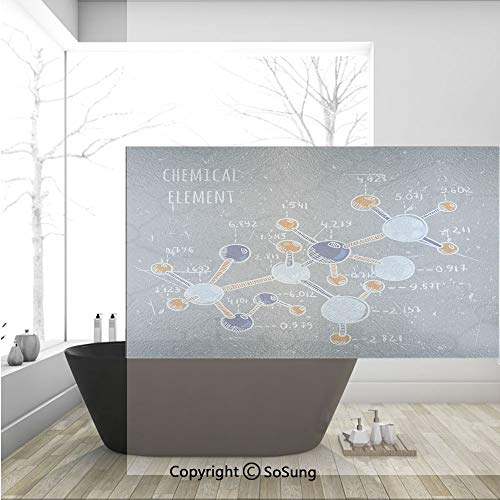 3D Decorative Privacy Window Films,Chemistry Laboratory with Display Formula Science Graphic Design Print,No-Glue Self Static Cling Glass Film for Home Bedroom Bathroom Kitchen Office 36x24 Inch