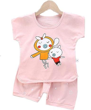 Fansu Pijamas Enteros de Manga Corta para Niños, Algodón Pijamas Dos Piezas Bebé Niño Niña Verano Juego de Pijama Camisetas y Pantalones Impresión ...