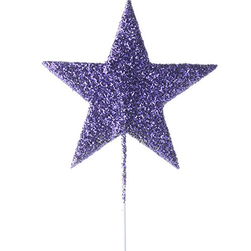 Package of 12 Purple Glittered Star Floral Picks for Embellishing, Valentines, and Events Factory Direct Craft