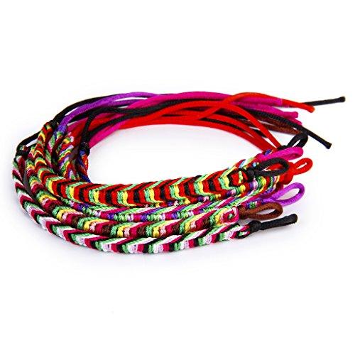 9pcs Bracelets Brésiliens Bracelets de Chevilles Bracelet Hippie Fil Tressé Coloré - Couleur Aléatoire