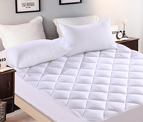 (Everest Premium Mattress PAD Hypoallergenic Needle Stitch Quilted Mattress Topper Deep Pocket Stretch to Fit Anchor Bands Microfiber Washable Medium wt 15 oz per sq yd (RV SHORT QUEEN-)