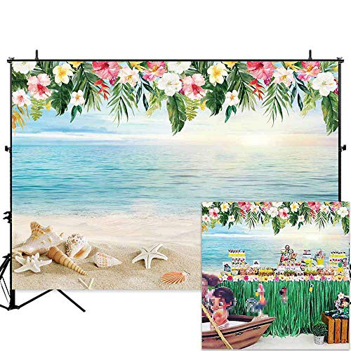 - Allenjoy 7x5ft Tropical Beach Photography Backdrop Hawaii Summer Birthday Luau Party Photo Background Baby Shower Banner Photobooth Props